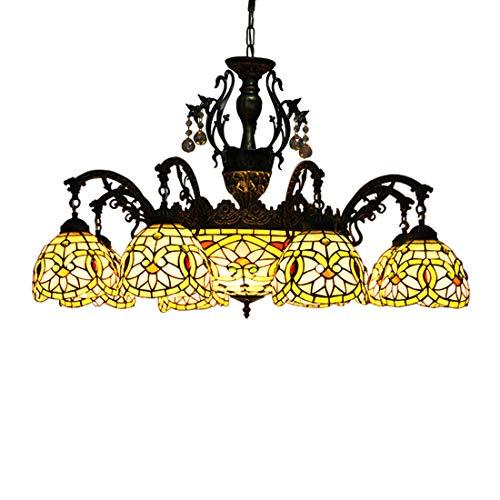 Makenier vintage style Tiffany vitrail 8 branches Fleur Rose Lustre avec 40,6 cm inversé plafond lampe suspendue