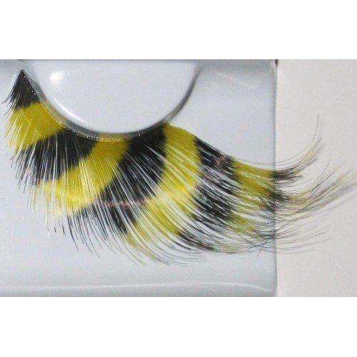 Eye Lash set Feather Yellow & Black (Lantern Kostüme Black)