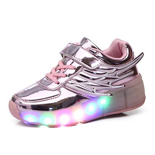 Kinderschuhe mit Rollen LED Skate Schuhe Roller Skate Shoes Rollen Schuhe Skateboard Schuhe Schuhe mit Rollen Kinder Jungen Mädchen Automatisch 31EU Rosa