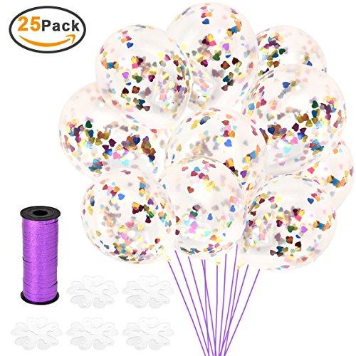Artoper 25 Stücke Konfetti Hochzeit Luftballons Ø 30cm, Latex Ballons mit Bunt Geformte Herz Folie Konfetti für Geburtstagsfeier Hochzeit Party und Festival Deko (25 Stück - Bunt Herz) (Herzen Bunte)