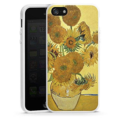 Apple iPhone 5 Housse étui coque protection Vincent van Gogh Tournesols Art Housse en silicone blanc