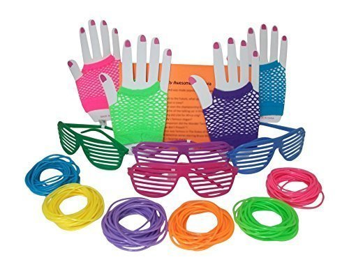 80s Rock Star or Pop Dress-Up Set for 12 - 12 Pairs Fingerless Fishnet Wrist Gloves, 12 Sunglasses, 144 Neon Gel Bracelets and 80s Trivia Questions by Multiple