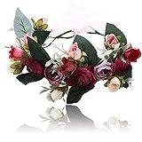 Damen Mädchen Blume Stirnbänder Krone - Handarbeit Blume Haarkranz Girlande mit Schleife für Festival Hochzeitsfeie (Rosa + Lila)