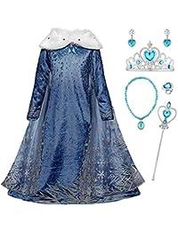 Monissy La Reine des Neiges Elsa Princesse Robe Fille Bleu Col Blanc Duvet Manche Longue Cape Tulle Glace Neiges Imprimé Asymétrique Costume Frozen Mariage Anniversaire Canarval