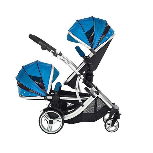 Kids Kargo Duellette 21 Combi Travel system Pram double pushchair NEW COLOUR RANGE! (French aqua plain bumpers) Kids Kargo Demo video please see link https://www.youtube.com/watch?v=X_tEcnQ8O8E%20 Suitability Newborn - 15kg (approx 3 yrs). Carrycot converts to seat unit incl mattress Carrycot & car seats fit in top or bottom position. Compatible car seats; Kidz Kargo 0+, Britax Babysafe 0+ (no adapters needed) or Maxi Cosi adaptors 4