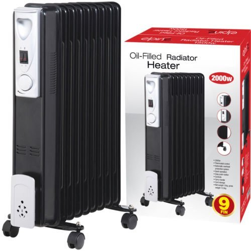 515l5y0dRcL. SS500  - 2000W 9 FIN Portable Oil Filled Radiator Heater Electrical Caravan Office Home (Black)