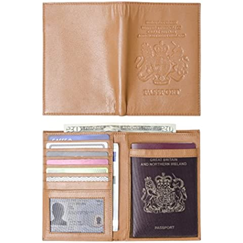 United Kingdom passaporto in vera pelle, Billfold, supporto, con custodia e il Regno Unito, Royal Coat of Arms