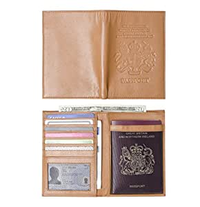Vera Pelle Porta Passaporto Portafoglio, Regno Unito, Portafoglio, e con il Regno Unito Royal Stemma marrone Chestnut taglia unica
