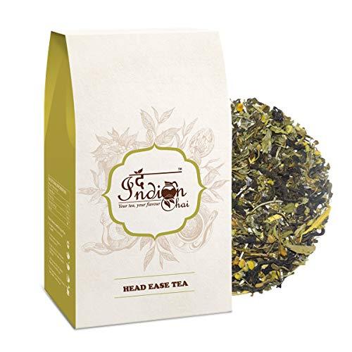 The Indian Chai - Head Ease Tea 100g with Lemon Balm, Lavender, Valerian Root for Headache Relief