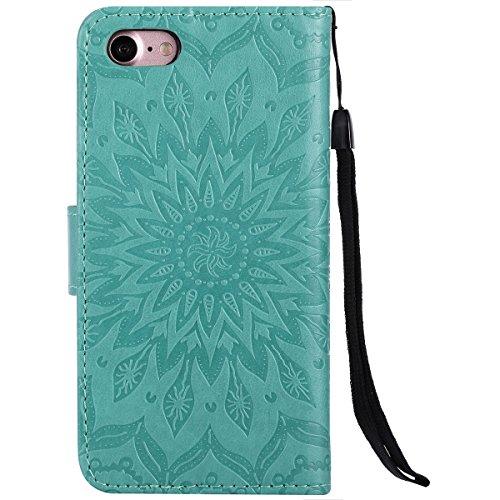 Etsue Strap Handytasche für iPhone 6 Plus/6S Plus (5.5 Zoll) Blau, Brieftasche Hülle für iPhone 6 Plus/6S Plus (5.5 Zoll) [Rosa Rose Blühen] Lederhülle Blume Handyhülle Flip Hülle Leder Schutzhülle Vi Mandala Blume,Grün