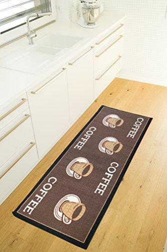 Andiamo Küchenläufer Design-Kurzflor Läufer aus 100% Polyamid waschbar-Coffee 67 x 180 cm Teppich