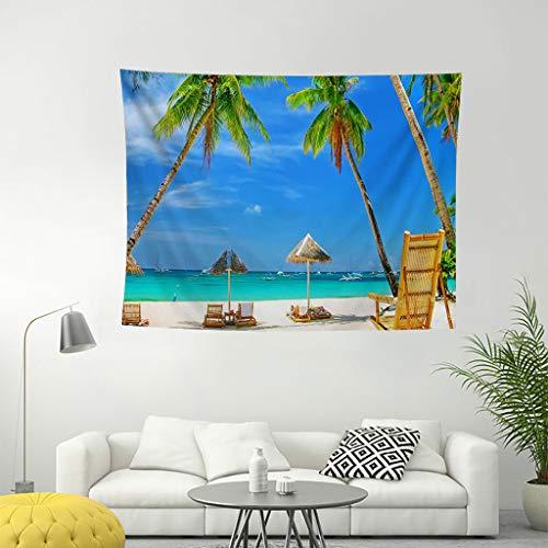 DUJIE Wanddeko Tagesdecke Wand Dekoration Indisch Wandteppich Mandala Tuch Hippie Bunt Indischer Wandbehang Baumwolle Kokosnussbaum Strand Ozean,A -