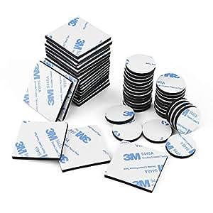 Doppelseitig Schaumstoff-Pads, 50 Stück Doppelseitiges Klebepads Starkes Klebeband Quadratisch und Rund,Schwarz
