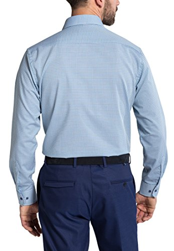 Eterna Long Sleeve Shirt Modern Fit Poplin Checked Blu/Verde