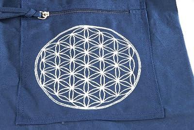 Berk YO-15-BL Meditations-Zubehör - Yoga Tasche mit Blume von Lebens, blau