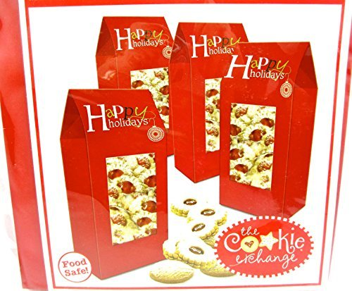 Christmas Cookie Boxes,cardboard,Food Safe (4 Cookie Boxes, Red Tall Tent) by Cookie Exchange