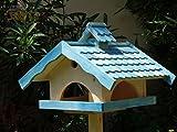 Vogelhaus, groß, BTV-X-VONI5-LOTUS-LEFA-blau002 Robustes, stabiles wetterfestes PREMIUM Vogelhaus mit wasserabweisender LOTUS-BESCHICHTUNG VOGELFUTTERHAUS + Nistkasten 100% KOMBI MIT NISTHILFE für Vögel , FUTTERHAUS für Vögel, WINTERFEST - MIT FUTTERSCHACHT Futtervorrat, Vogelfutter-Station Farbe blau SKY BLUE himmelblau hellblau mittelblau dunkelblau/natur, MIT TIEFEM WETTERSCHUTZ-DACH für trockenes Futter, Schreinerarbeit aus Vollholz