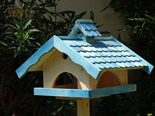 Vogelhaus XXL, vogelhäuschen BTV-VONI5-LOTUS-LEFA-blau002 Robustes, stabiles wetterfestes PREMIUM Vogelhaus mit wasserabweisender LOTUS-BESCHICHTUNG VOGELFUTTERHAUS + Nistkasten 100% KOMBI MIT NISTHILFE für Vögel , FUTTERHAUS für Vögel, WINTERFEST - MIT FUTTERSCHACHT Futtervorrat, Vogelfutter-Station Farbe blau hellblau mittelblau dunkelblau/natur, Ausführung Naturholz MIT TIEFEM WETTERSCHUTZ-DACH für trockenes Futter, Schreinerarbeit aus Vollholz