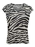 ONLY NOS Damen T-Shirt onlSILVERY Leo S/S V Neck Lurex TOP NOOS, Mehrfarbig (Silver AOP: Zebra Print), 40 (Herstellergröße: L)