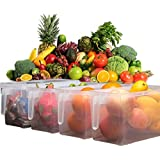 Krevia Plastic Storage Containers Square Handle Food Storage Organizer Boxes With Lids For Refrigerator Fridge Cabinet Desk 1Pcs