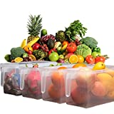 #8: VelKro Plastic Storage Containers Square Handle Food Storage Organizer Boxes with Lids for Refrigerator Fridge Cabinet Desk 1Pcs