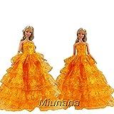 Miunana Habit de cérémonie Robe longue sans manche orange mode princesse pour Barbie
