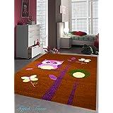 Los niños de la alfombra del juego del diseño del buho niños de la alfombra alfombra con las mariposas en rosa púrpura marrón crema verde Größe 160x230 cm