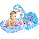 Baby Fitnessstand mit Musik Babyspielzeug 82*66*42cm für 0-8 Monate (Blau)