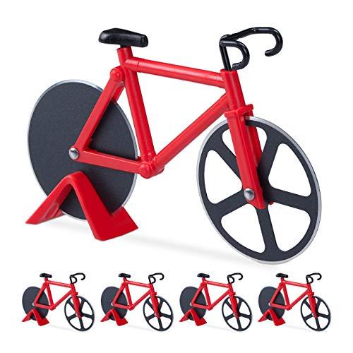 5 x Fahrrad Pizzaschneider, lustiger Pizzaroller mit Schneiderädern aus Edelstahl, Cutter für Pizza & Teig, rot