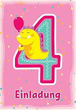 12 Einladungskarten Zum 4. Kindergeburtstag Rosa / Schöne Einladungen Zum  Geburtstag Für Mädchen U0026quot;