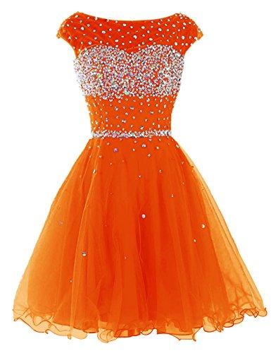 Dresstells, Robe de soirée de cocktail Robe Quinceanera Robe de bal courte emperlée avec paillettes Orange