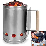 Deuba Kohlestarter Grillstarter XXL Stahl Anzündkamin mit Griff und Hitzeschild 17 x 17 x 27,5 cm | Stabiler Griff mit Hitzeschild | mehrere Belüftungsöffnungen | Shisha Kohle