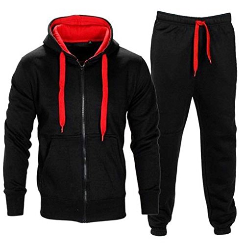 Men's Contrast Cord Fleece Full Zip Up Tracksuit Hoodie Gym Suit Jogging Joggers (Regelmäßige Fitting)