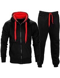 Mens Full Zip Up Contrast Cord Fleece Tracksuit Hoodie Jogging Joggers Gym Suit