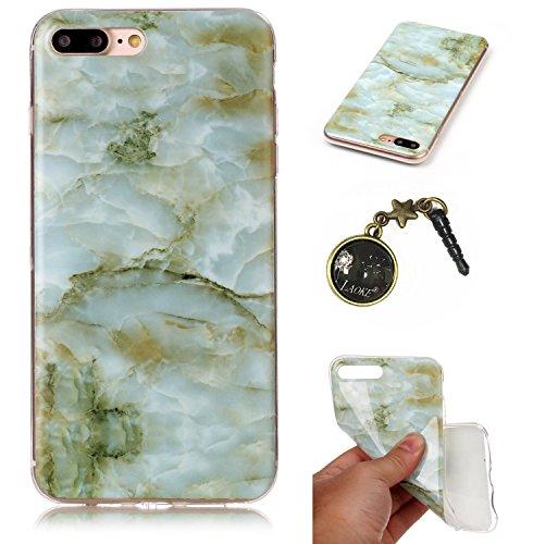 TPU für Apple iPhone 7 Plus (5.5 Zoll) mit Marmor Design - Schale Etui Protective Hartschale Backcover Case Schutzhülle Cover in Apple iPhone 7 Plus (5.5 Zoll) mit Marmor Design Skin +Staubstecker (1N 3