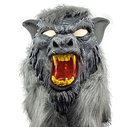QWEASZER Halloween Cosplay Party Erwachsene Horror schwarzer Wolf Kopf Maske Geister Requisiten Lustige Maskerade Vinyl Tierkopfbedeckung Leistungsrequisiten,Black-OneSize