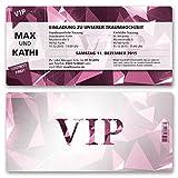 (100 x) Hochzeitseinladungen VIP Party Edel Pink Ticket Einladungskarten Hochzeit