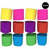 12 pack crepe paper craft streamers hanging decorations for parties and birthdays 6 colors