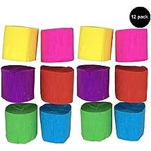 [12unidades] Crepe Papel Craft–Serpentinas para colgar decoraciones para fiestas y cumpleaños infantiles, diseño de 6colores, 1.77inch x 29,6pies, pack de 12