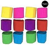 Craft de papel crepé Serpentinas para colgar decoraciones para fiestas y cumpleaños infantiles, diseño de 6colores, 1.77inch x 29,6pies