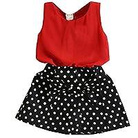 PJPYIF Kids Girls Chiffon Tank Skirt & Polka Dot Skirt Sets Outfits 3 Years