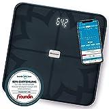 Medisana BS 450 connect, digitale Körperanalysewaage 180 kg, schwarze Personenwaage zur Messung von Körperfett, Körperwasser, Muskelmasse und Knochengewicht, Körperfettwaage mit Körperanalyse App
