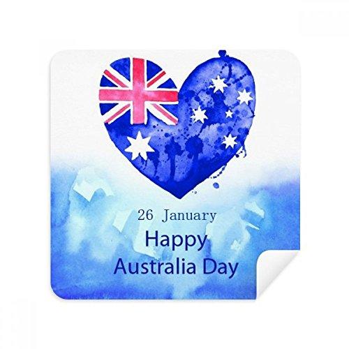 DIYthinker Australien Happy Day Herz-Form-Flagge Gläser Reinigungstuch Telefon Screen Cleaner Suede Fabric 2Pcs