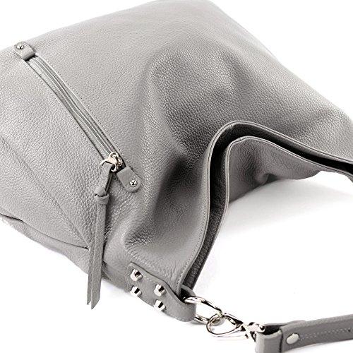 Modamoda de T121–Borsa da donna a tracolla, in pelle italiana Grau Leder
