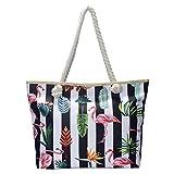 Grande borsa da spiaggia idrorepellente con cerniera Borsa a tracolla Shopper Fenicottero multicolore