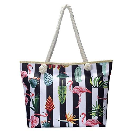 Moderne gestreifte Strandtasche wasserabweisend mit Reißverschluss Shopper Tasche Schultertasche Flamingos mit Streifen bunt