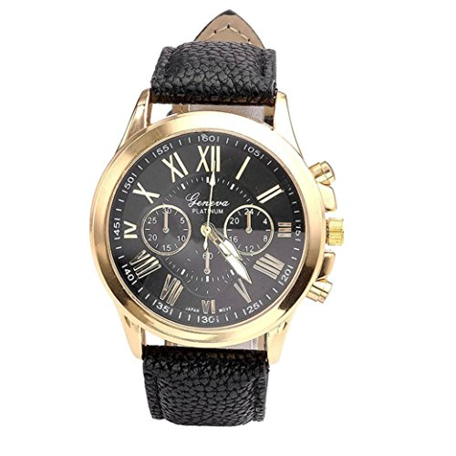 Schmuck-Genf-Damenmode Diamant analogen Leder Quarz Wrist Watch Uhren Tefamore (Schwarz)
