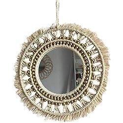Espejo de macramé colgante de pared Boho geométrico decorativo redondo espejo de pared decoración para sala de estar dormitorio bebé guardería apartamento - 10.6 pulgadas