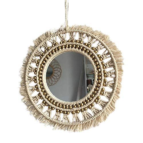 Espejo de macramé colgante de pared Boho geométrico decorativo redondo espejo de pared decoración...