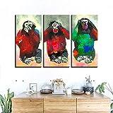 YB Tela Poster Decorazione della casa Stampa 3 Colori Scimmia Pittura Animale Astratta Divertente Immagine Soggiorno Wall Art Cornice, Senza Cornice, 30 cm x 60 cm x 3 Pezzi